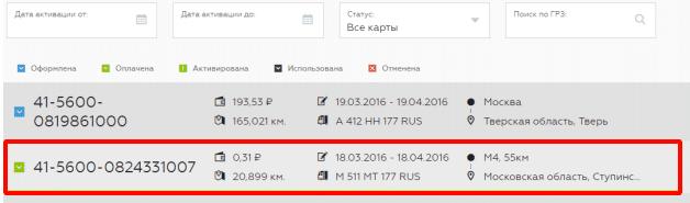 Список оформленных и оплаченных маршрутов